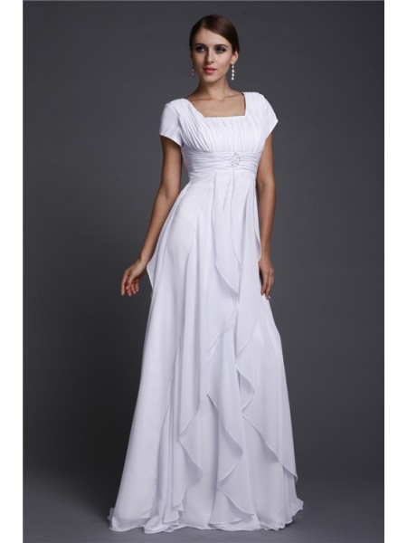 Stylish A-Line/Princess Neck Short Sleeves Square Ruffles Long Chiffon Dresses