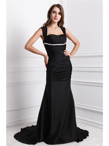 Fashion Trumpet/Mermaid Sleeveless Long Straps Beading Charmeuse Dresses