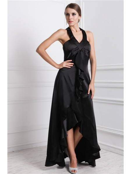 Fashion A-Line/Princess Ruffles Sleeveless Bateau High Low Silk like Satin