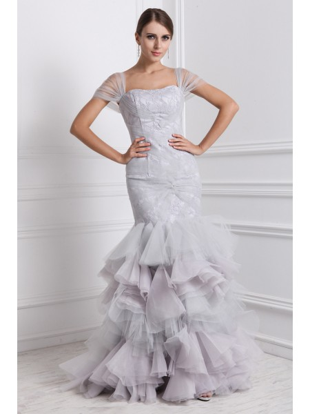 Fashion Trumpet/Mermaid Short Sleeves Ruffles Straps Long Organza Dresses