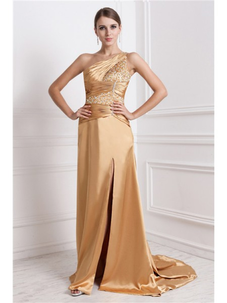 Stylish A-Line/Princess Sleeveless Long One-Shoulder Beading Elastic Woven Satin Dresses