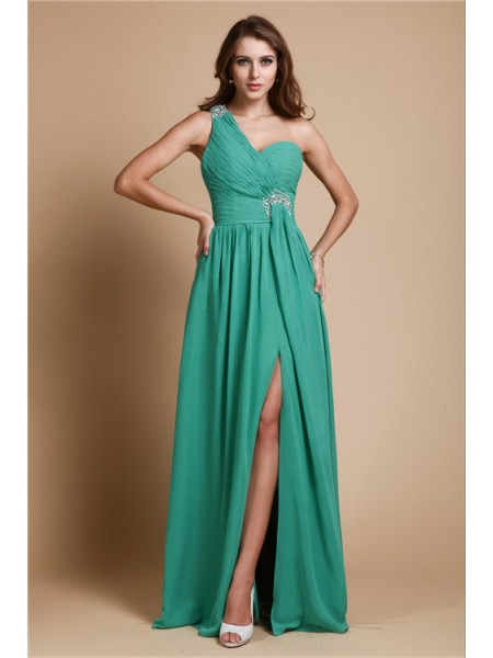 Stylish A-Line/Princess Shoulder Sleeveless One Beading Long Chiffon Dresses