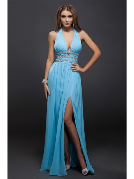Fashion Sheath/Column Beading Sleeveless V-neck Long Chiffon Dresses