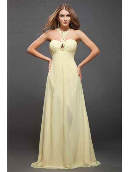 Stylish Sheath/Column Beading Sleeveless Halter Long Chiffon Dresses