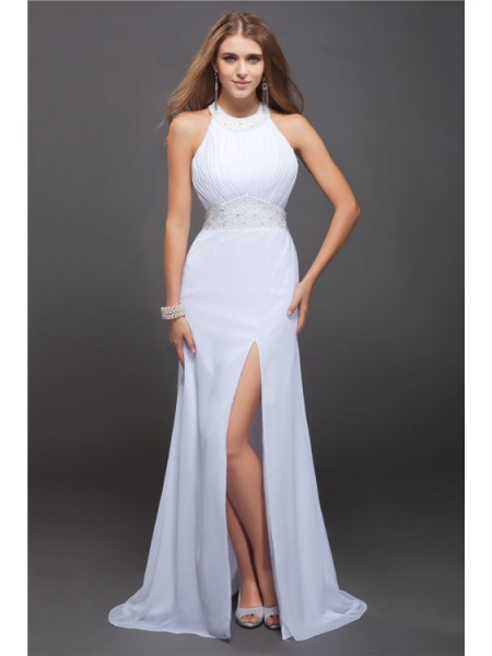 Fashion Sheath/Column Sleeveless Beading Jewel Ruffles Long Chiffon Dresses