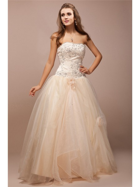 Stylish Ball Gown Sleeveless Lace Strapless Long Beading Net Satin Dresses