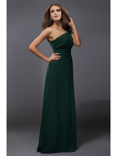 Fashion Sheath/Column Ruffles Sleeveless One-Shoulder Long Chiffon Dresses