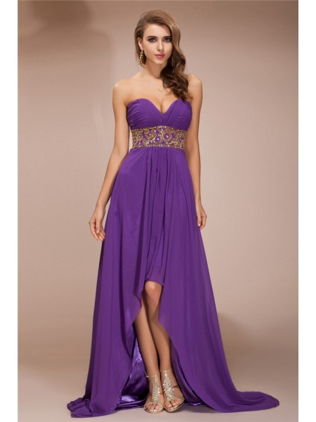 Fashion A-Line/Princess Sleeveless Beading Sweetheart High Low Chiffon Dresses