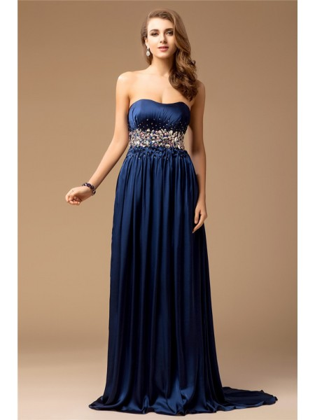 Stylish Sheath/Column Sleeveless Long Strapless Rhinestone Silk like Satin Dresses