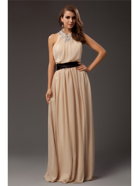 Fashion Sheath/Column Beading Sleeveless Jewel Long Chiffon Dresses