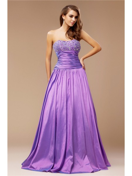 Stylish A-Line/Princess Beading Sleeveless Strapless Long Taffeta Dresses