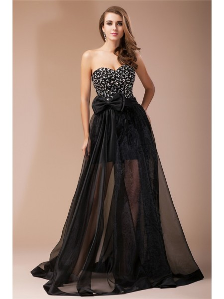 Stylish Sheath/Column Beading Long Sweetheart Sleeveless Organza Elastic Woven Satin