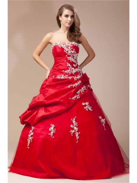 Fashion Ball Gown Sleeveless Beading Sweetheart Lace Long Taffeta Net Dresses