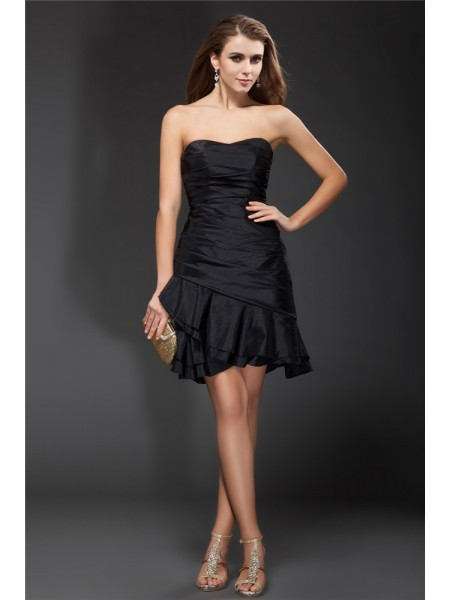 Fashion A-Line/Princess Ruffles Sleeveless Strapless Short Taffeta Cocktail Dresses