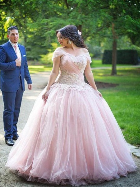 Ball Gown Off-the-Shoulder Sleeveless Applique Floor-Length Tulle Plus Size Dresses