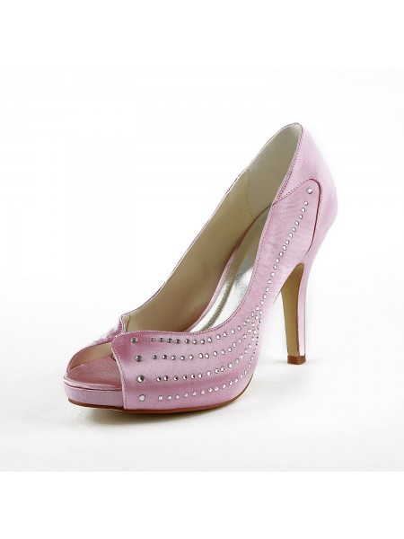 The Most Fashionable Women's Satin Stiletto Heel Peep Toe Platform Pink Wedding Shoes With Rhinestone