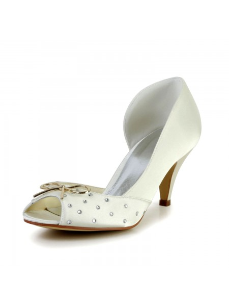The Most Fashionable Women's Nice Satin Cone Heel Rhinestone Ivory Wedding Shoes