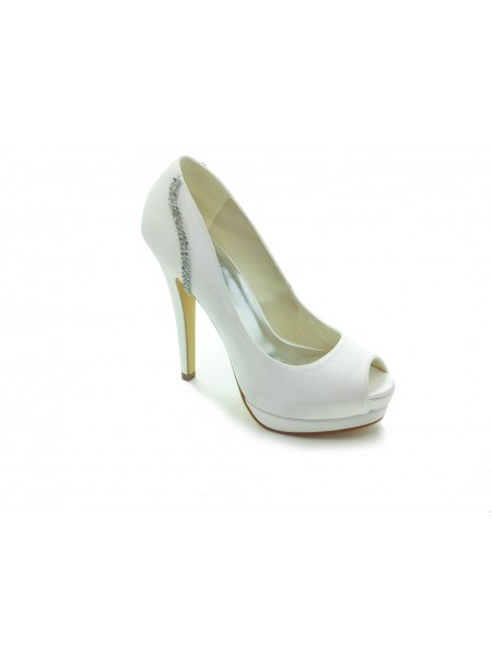 The Most Trendy Women's Satin Stiletto Heel Peep Toe Platform White Wedding Shoes With Rhinestone