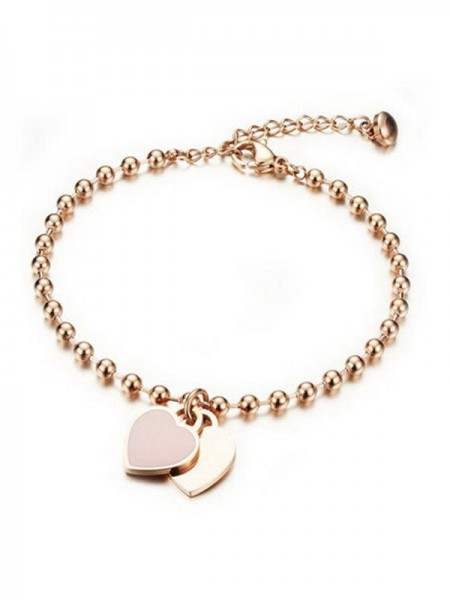 Ladies' Simple Peach Heart Titanium Bracelets
