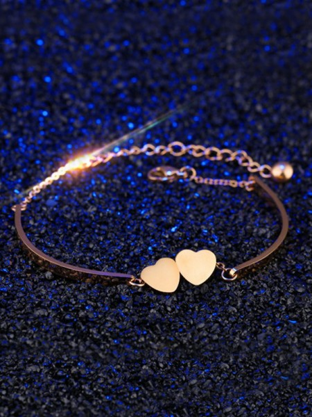 Sweet Titanium With Heart Chain Bracelets