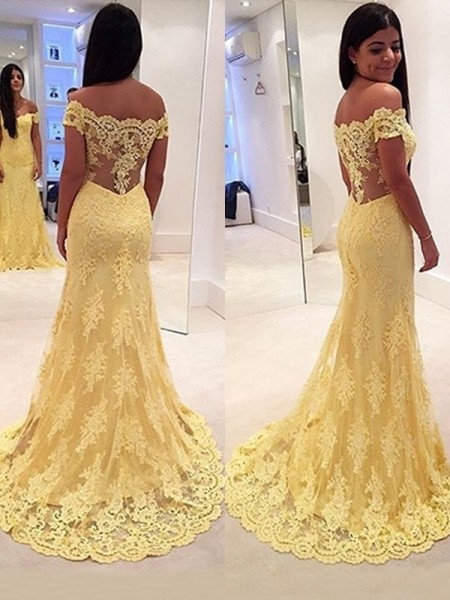Mermaid Off-the-Shoulder Sleeveless Sweep/Brush Train Lace Dresses