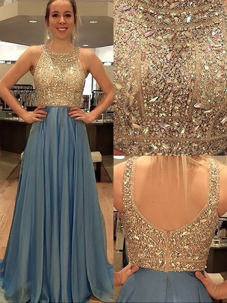 Stylish A-Line/Princess Scoop Chiffon Sleeveless Beading Sweep/Brush Train Dresses