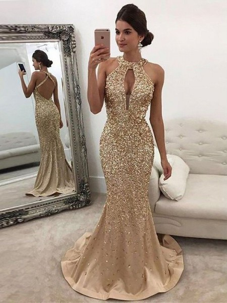 Trumpet/Mermaid Sleeveless Halter Sequin Sweep/Brush Train Satin Dresses