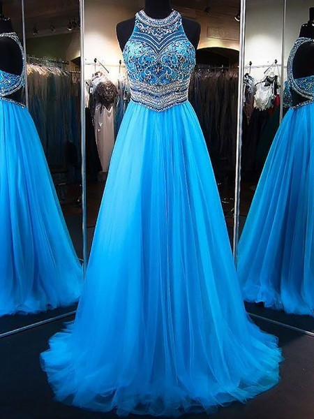 bec56e6798d A-Line Princess Jewel Sleeveless Sweep Brush Train Beading Tulle Dresses