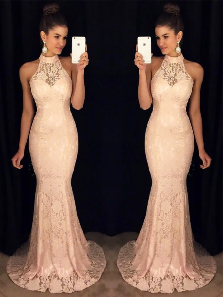 59df7b2199f Trumpet Mermaid High Neck Sleeveless Sweep Brush Train Ruffles Lace Dresses