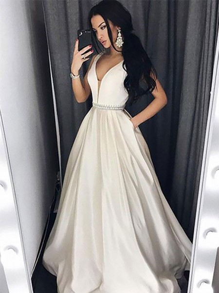 A-Line/Princess V-neck Sleeveless Sweep Train Beading Satin Dresses