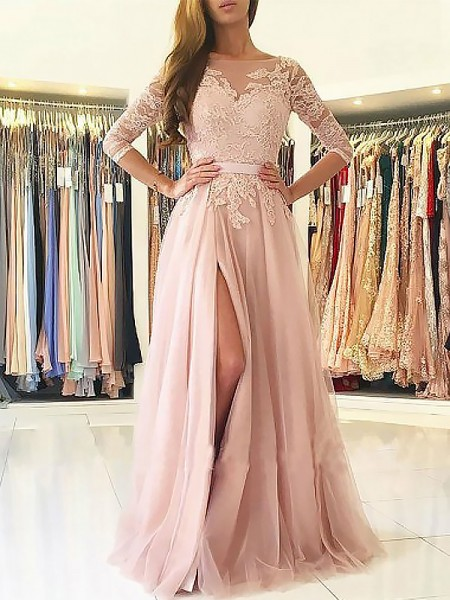 A-Line/Princess Bateau 3/4 Sleeves Floor-Length Applique Tulle Dresses