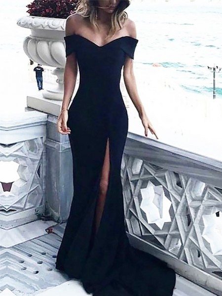 Sheath Off-the-Shoulder Sleeveless Sweep/Brush Train With Ruched Spandex Dresses