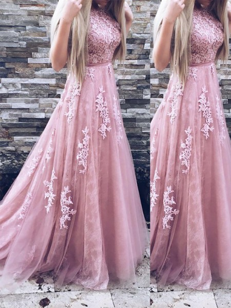 A-Line/Princess Scoop Sweep/Brush Train Tulle Sleeveless Applique Dresses