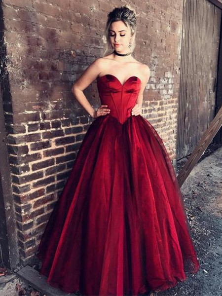 Ball Gown Sweetheart Sleeveless Floor-Length With Ruffles Tulle Dresses
