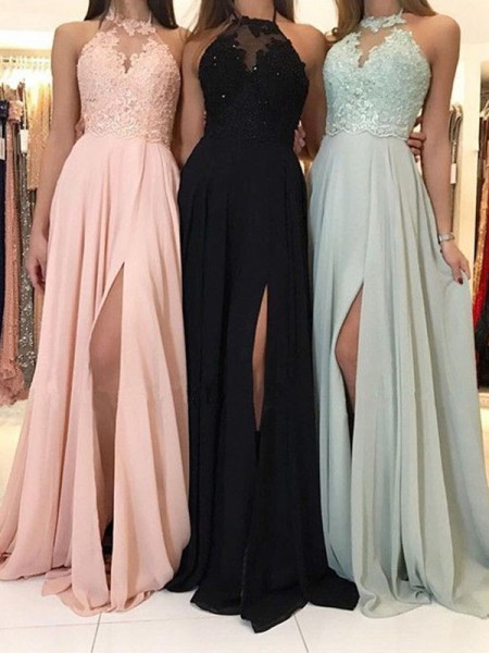 Stylish Sweep/Brush Train A-Line/Princess Sleeveless Halter Chiffon Dresses