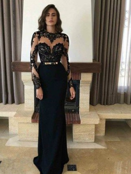 Fashion Floor-Length Sheath/Column Long Sleeves Jewel Chiffon Dresses