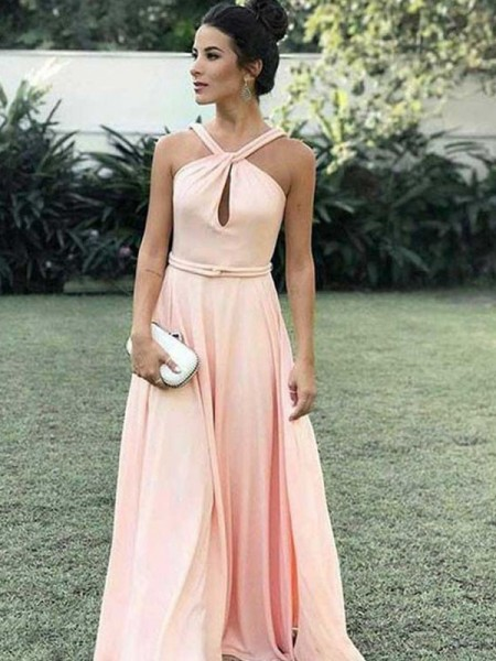 Stylish Floor-Length A-Line/Princess Sleeveless Halter Chiffon Dresses