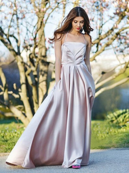 Stylish Sweep/Brush Train A-Line/Princess Sleeveless Halter Satin Dresses