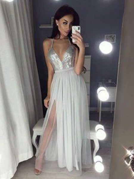 Stylish Floor-Length A-Line/Princess Sleeveless V-neck Chiffon Dresses
