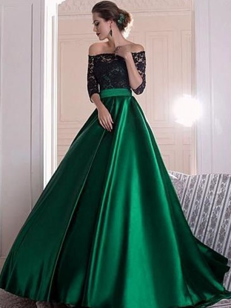 Stylish Sweep/Brush Train A-Line/Princess 3/4 Sleeves Off-the-Shoulder Satin Dresses