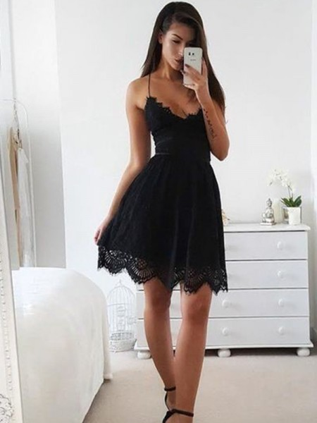 A-Line/Princess Lace Spaghetti Straps Sleeveless Short/Mini Dresses