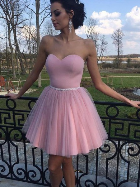 A-Line/Princess Sweetheart Sleeveless Pleats Tulle Short/Mini Dresses