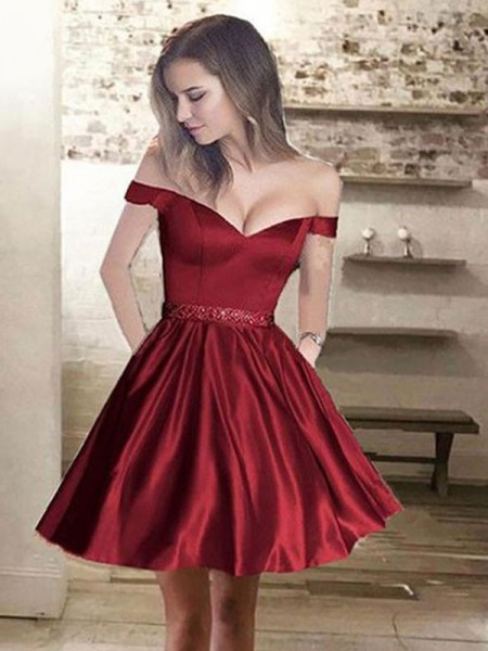 A-Line/Princess Off-the-Shoulder Satin Beading Sleeveless Short/Mini Dresses