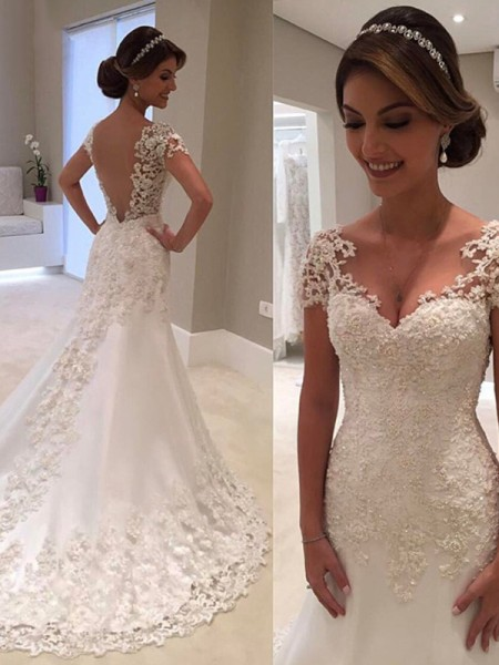 Trumpet/Mermaid Short Sleeves Sweetheart Sweep Train Lace Wedding Dresses