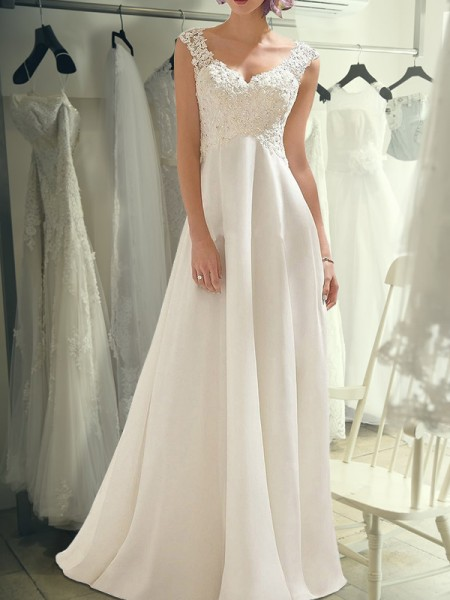 Empire Sleeveless Floor-Length V-neck Lace Chiffon Wedding Dresses
