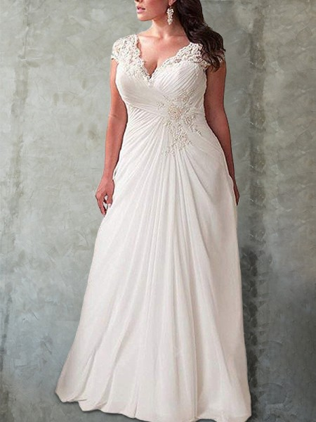 Empire Sweetheart Sleeveless Lace Sweep/Brush Train Chiffon Plus Size Wedding Dresses