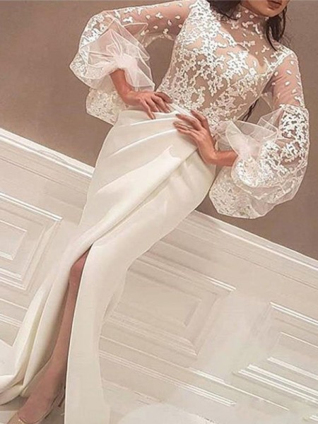 Trumpet/Mermaid Long Sleeves High Neck Sweep Train Lace Satin Dresses