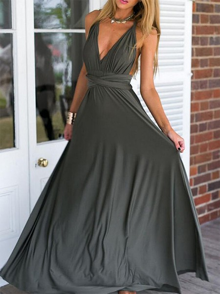 Empire Sleeveless V-neck Floor-Length Ruched Spandex Dresses