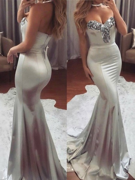 Trumpet/Mermaid Sleeveless Sweetheart Sweep/Brush Train Sequin Satin Dresses