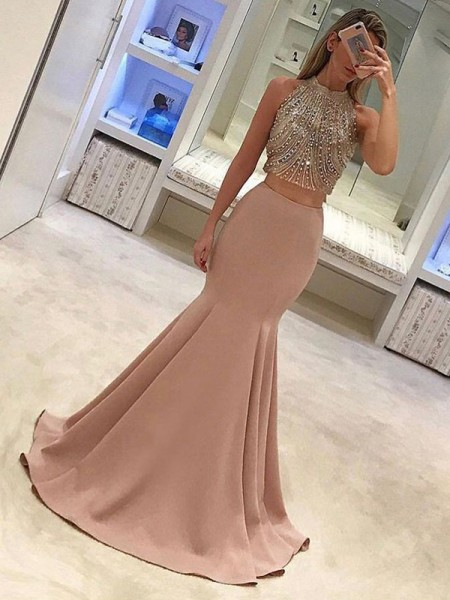 Trumpet/Mermaid Sleeveless High Neck Sweep/Brush Train Beading Satin Two Piece Dresses